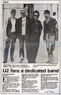 U2 in Hershey - newspaper scan